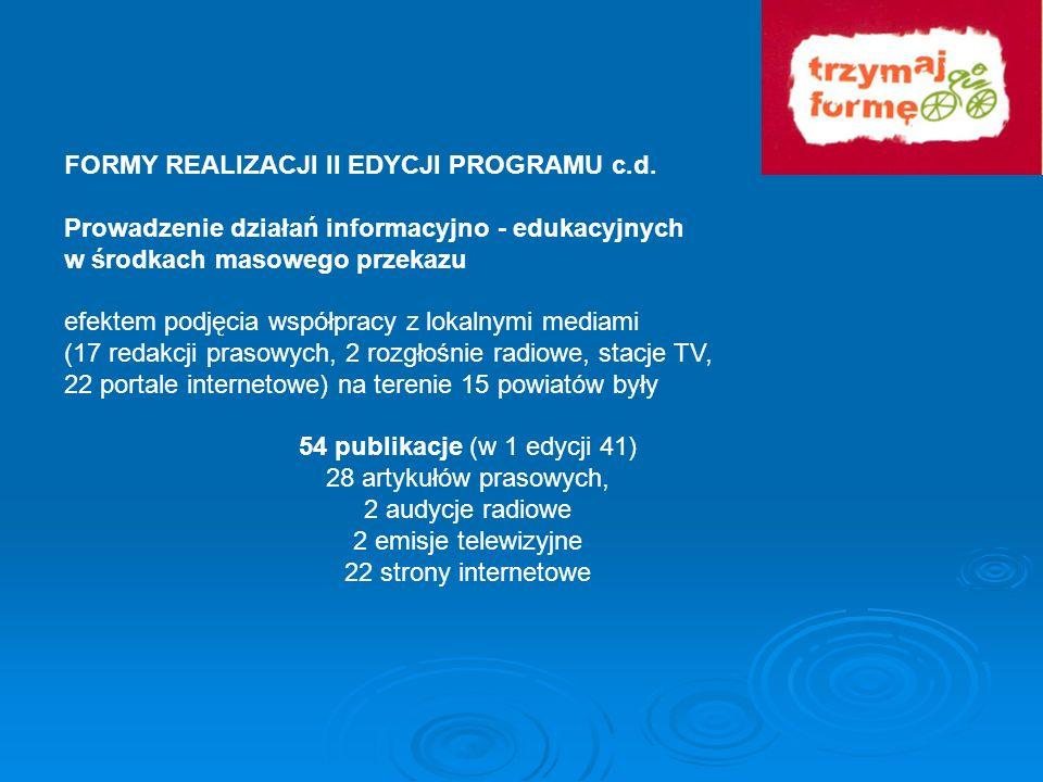 FORMY REALIZACJI II EDYCJI PROGRAMU c.d. Prowadzenie działań informacyjno - edukacyjnych w środkach masowego przekazu efektem podjęcia współpracy z lo