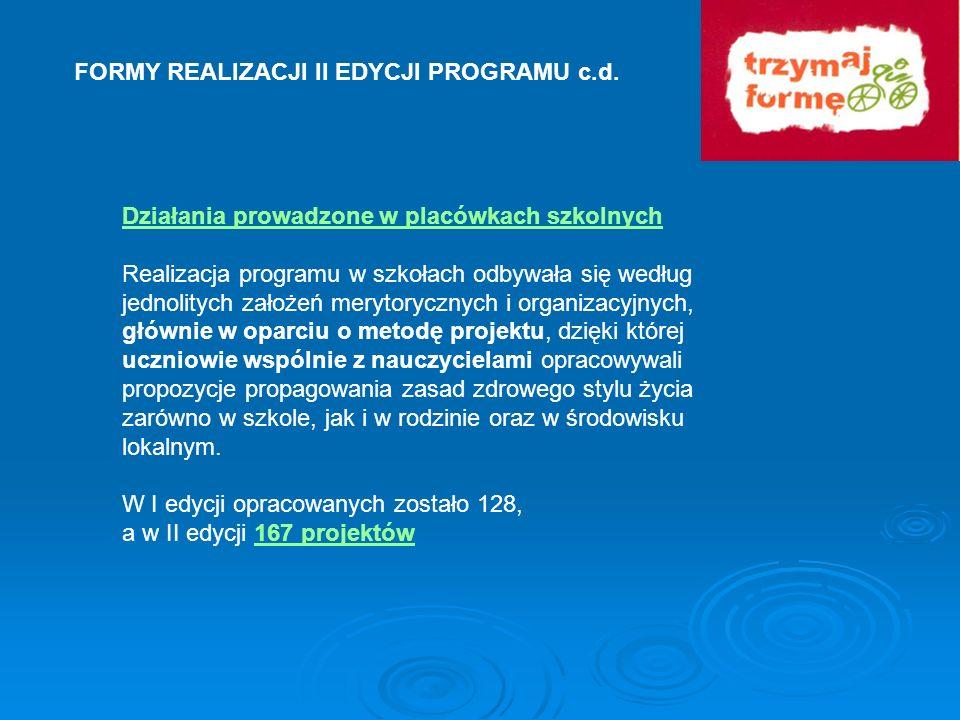 FORMY REALIZACJI II EDYCJI PROGRAMU c.d. Działania prowadzone w placówkach szkolnych Realizacja programu w szkołach odbywała się według jednolitych za