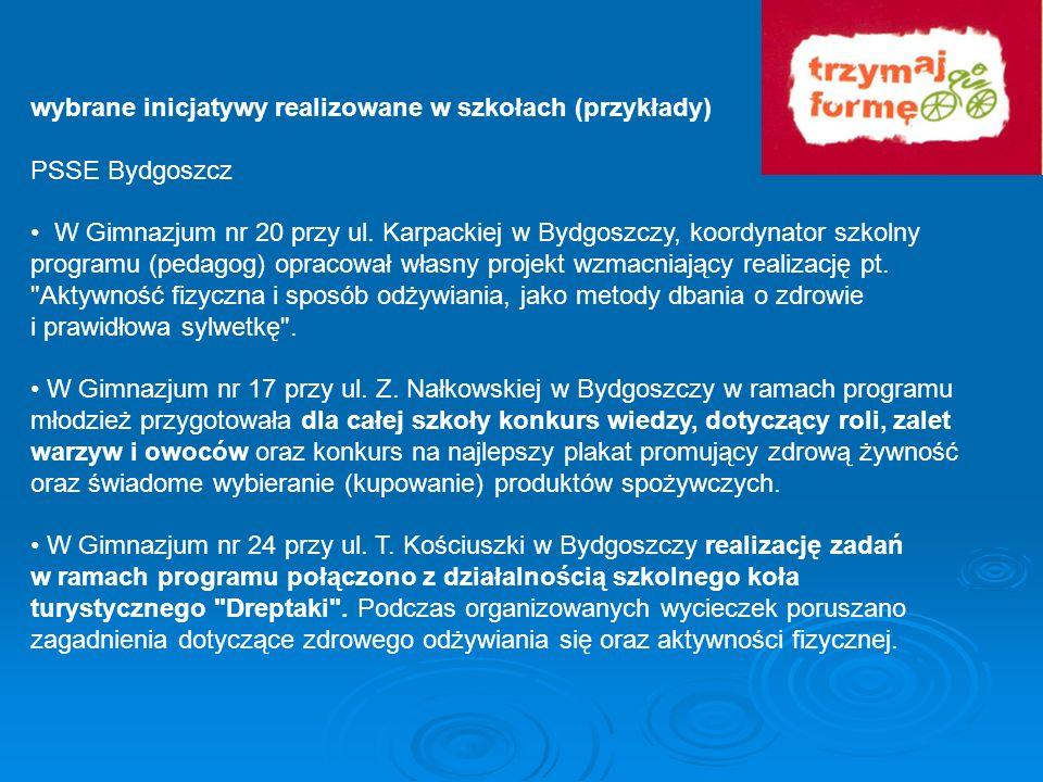 wybrane inicjatywy realizowane w szkołach (przykłady) PSSE Bydgoszcz W Gimnazjum nr 20 przy ul. Karpackiej w Bydgoszczy, koordynator szkolny programu