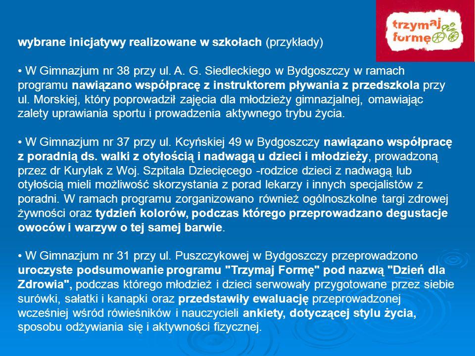 wybrane inicjatywy realizowane w szkołach (przykłady) W Gimnazjum nr 38 przy ul. A. G. Siedleckiego w Bydgoszczy w ramach programu nawiązano współprac