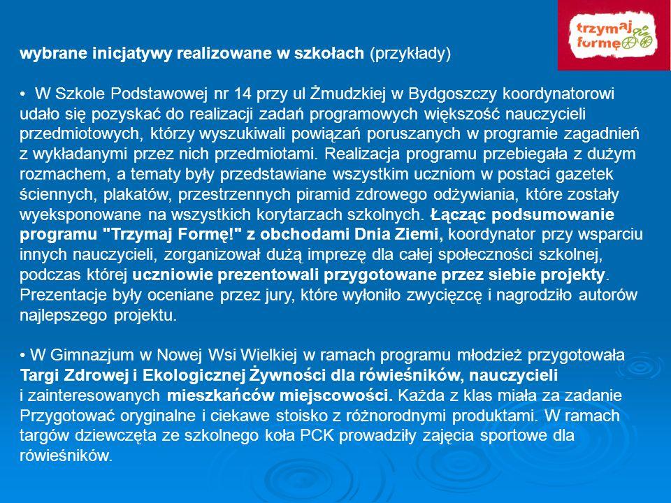 wybrane inicjatywy realizowane w szkołach (przykłady) W Szkole Podstawowej nr 14 przy ul Żmudzkiej w Bydgoszczy koordynatorowi udało się pozyskać do r