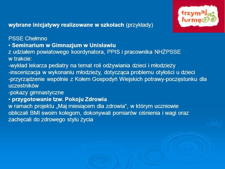 wybrane inicjatywy realizowane w szkołach (przykłady) PSSE Chełmno Seminarium w Gimnazjum w Unisławiu z udziałem powiatowego koordynatora, PPIS i prac
