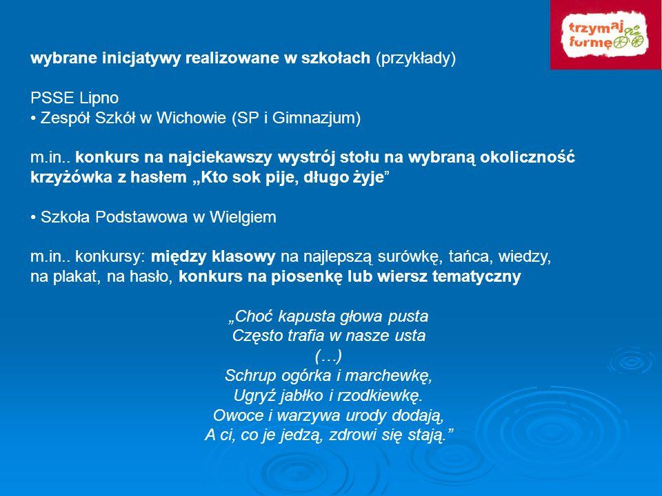 wybrane inicjatywy realizowane w szkołach (przykłady) PSSE Lipno Zespół Szkół w Wichowie (SP i Gimnazjum) m.in.. konkurs na najciekawszy wystrój stołu