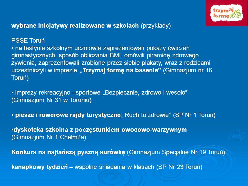 wybrane inicjatywy realizowane w szkołach (przykłady) PSSE Toruń na festynie szkolnym uczniowie zaprezentowali pokazy ćwiczeń gimnastycznych, sposób o