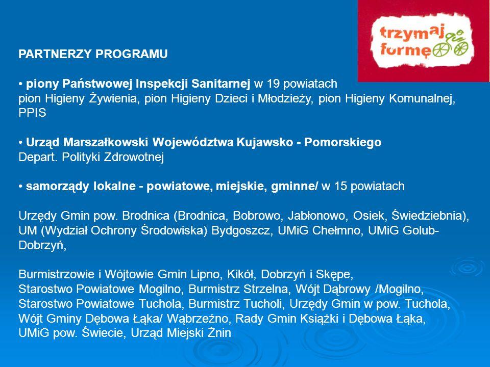 PARTNERZY PROGRAMU piony Państwowej Inspekcji Sanitarnej w 19 powiatach pion Higieny Żywienia, pion Higieny Dzieci i Młodzieży, pion Higieny Komunalne