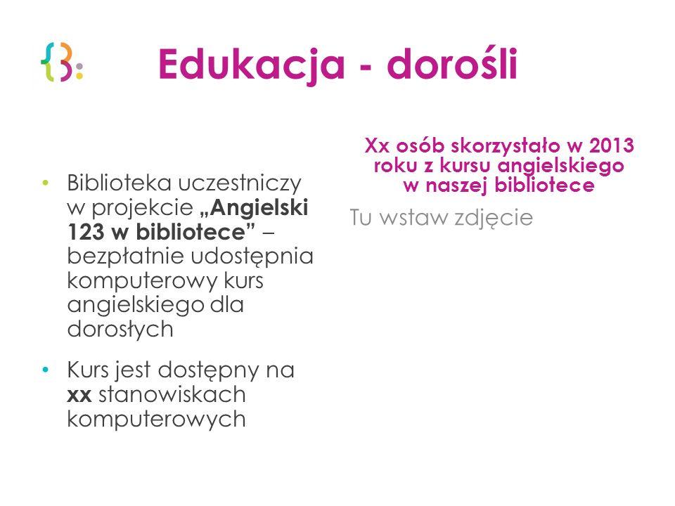 Edukacja - dorośli Biblioteka uczestniczy w projekcie Angielski 123 w bibliotece – bezpłatnie udostępnia komputerowy kurs angielskiego dla dorosłych K