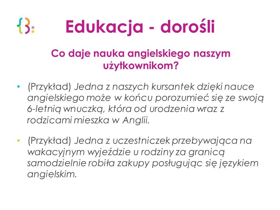 Edukacja - dorośli Co daje nauka angielskiego naszym użytkownikom? (Przykład) Jedna z naszych kursantek dzięki nauce angielskiego może w końcu porozum