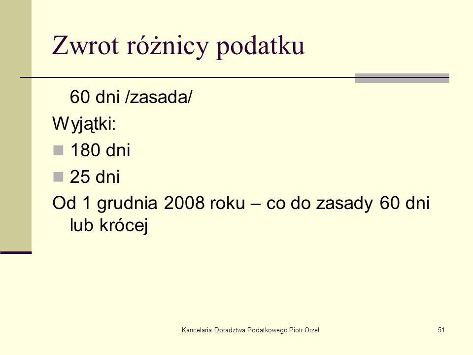 Kancelaria Doradztwa Podatkowego Piotr Orzeł51 Zwrot różnicy podatku 60 dni /zasada/ Wyjątki: 180 dni 25 dni Od 1 grudnia 2008 roku – co do zasady 60