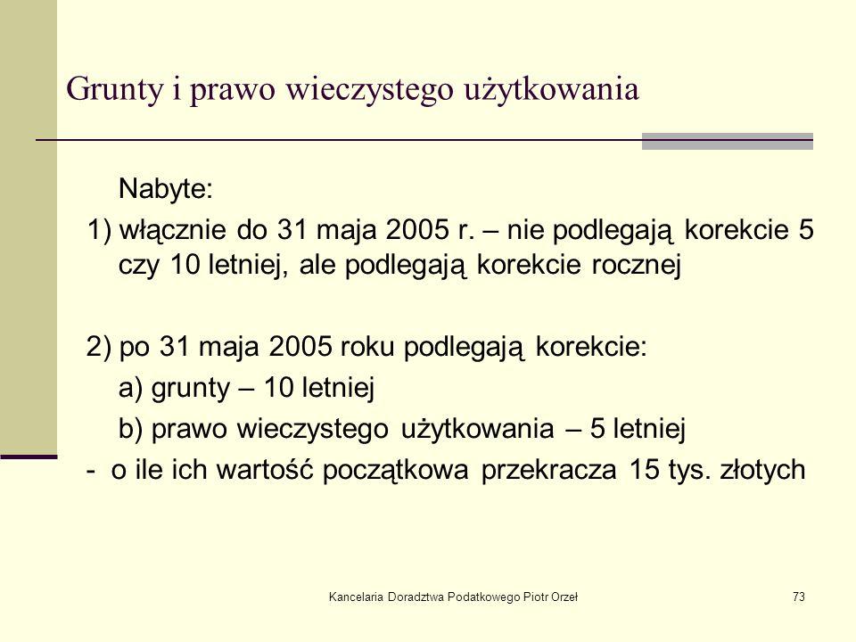 Kancelaria Doradztwa Podatkowego Piotr Orzeł73 Grunty i prawo wieczystego użytkowania Nabyte: 1) włącznie do 31 maja 2005 r. – nie podlegają korekcie