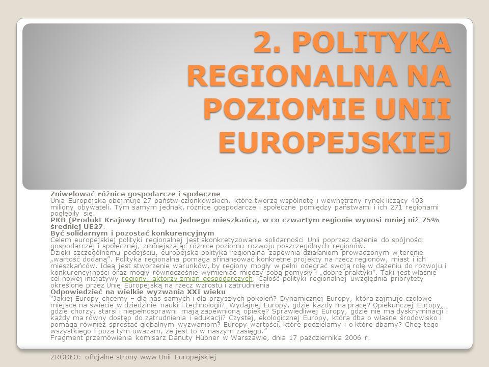 2. POLITYKA REGIONALNA NA POZIOMIE UNII EUROPEJSKIEJ Zniwelować różnice gospodarcze i społeczne Unia Europejska obejmuje 27 państw członkowskich, któr