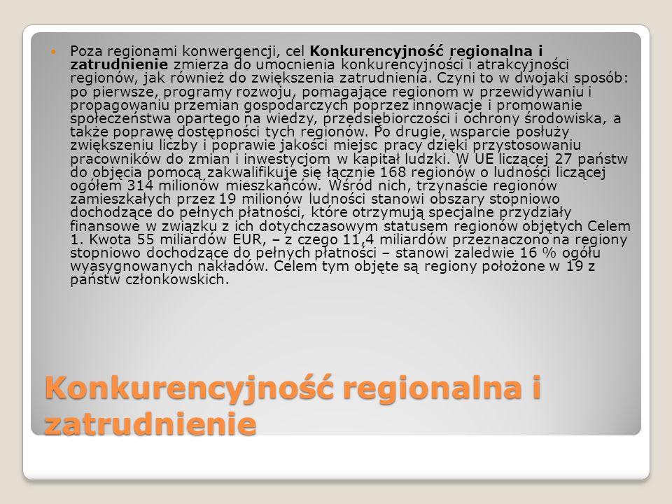Konkurencyjność regionalna i zatrudnienie Poza regionami konwergencji, cel Konkurencyjność regionalna i zatrudnienie zmierza do umocnienia konkurencyj