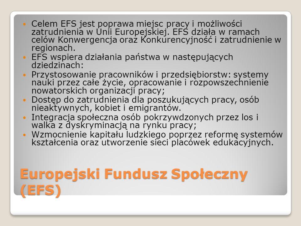 Europejski Fundusz Społeczny (EFS) Celem EFS jest poprawa miejsc pracy i możliwości zatrudnienia w Unii Europejskiej. EFS działa w ramach celów Konwer