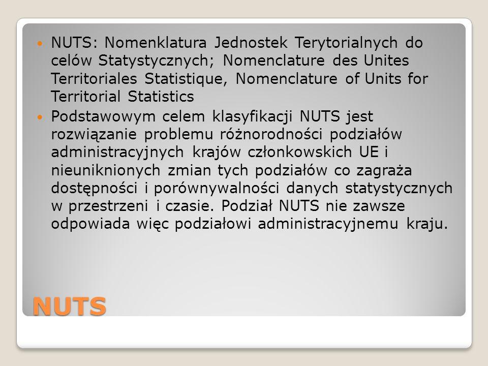 NUTS NUTS: Nomenklatura Jednostek Terytorialnych do celów Statystycznych; Nomenclature des Unites Territoriales Statistique, Nomenclature of Units for