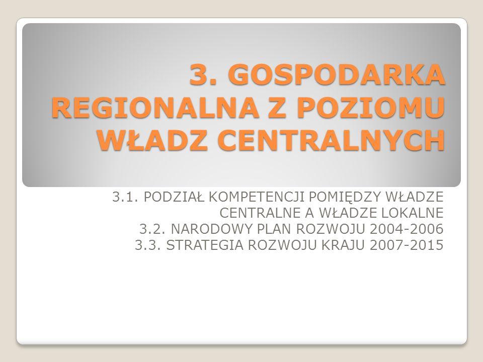 3. GOSPODARKA REGIONALNA Z POZIOMU WŁADZ CENTRALNYCH 3.1. PODZIAŁ KOMPETENCJI POMIĘDZY WŁADZE CENTRALNE A WŁADZE LOKALNE 3.2. NARODOWY PLAN ROZWOJU 20