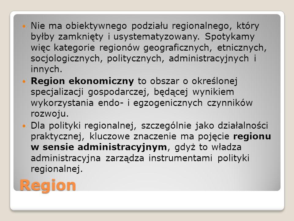 Region Nie ma obiektywnego podziału regionalnego, który byłby zamknięty i usystematyzowany. Spotykamy więc kategorie regionów geograficznych, etniczny