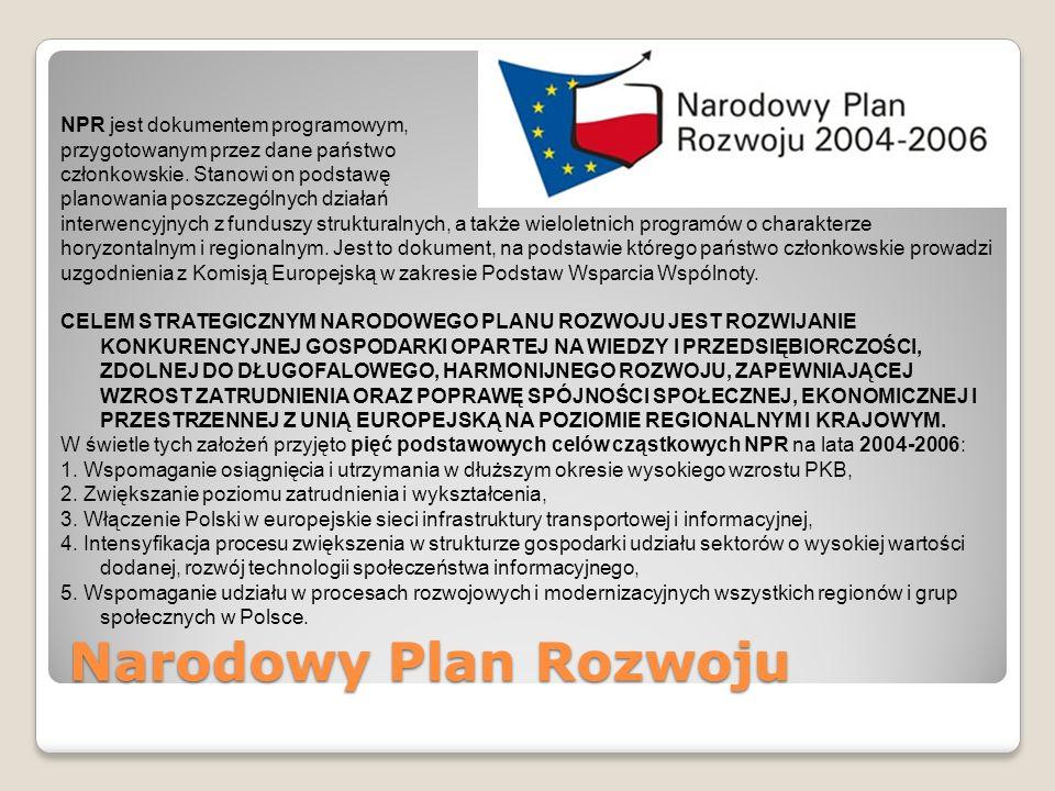 Narodowy Plan Rozwoju NPR jest dokumentem programowym, przygotowanym przez dane państwo członkowskie. Stanowi on podstawę planowania poszczególnych dz