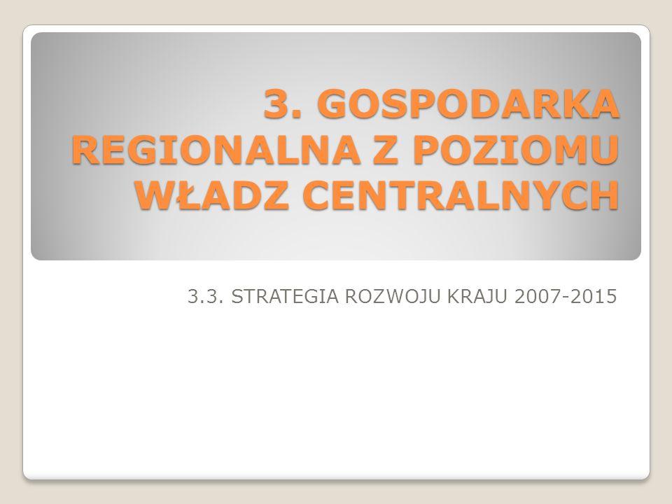 3. GOSPODARKA REGIONALNA Z POZIOMU WŁADZ CENTRALNYCH 3.3. STRATEGIA ROZWOJU KRAJU 2007-2015
