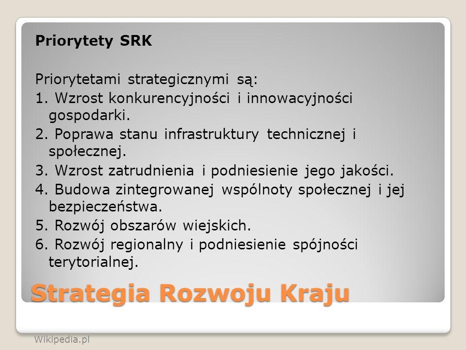Strategia Rozwoju Kraju Priorytety SRK Priorytetami strategicznymi są: 1. Wzrost konkurencyjności i innowacyjności gospodarki. 2. Poprawa stanu infras