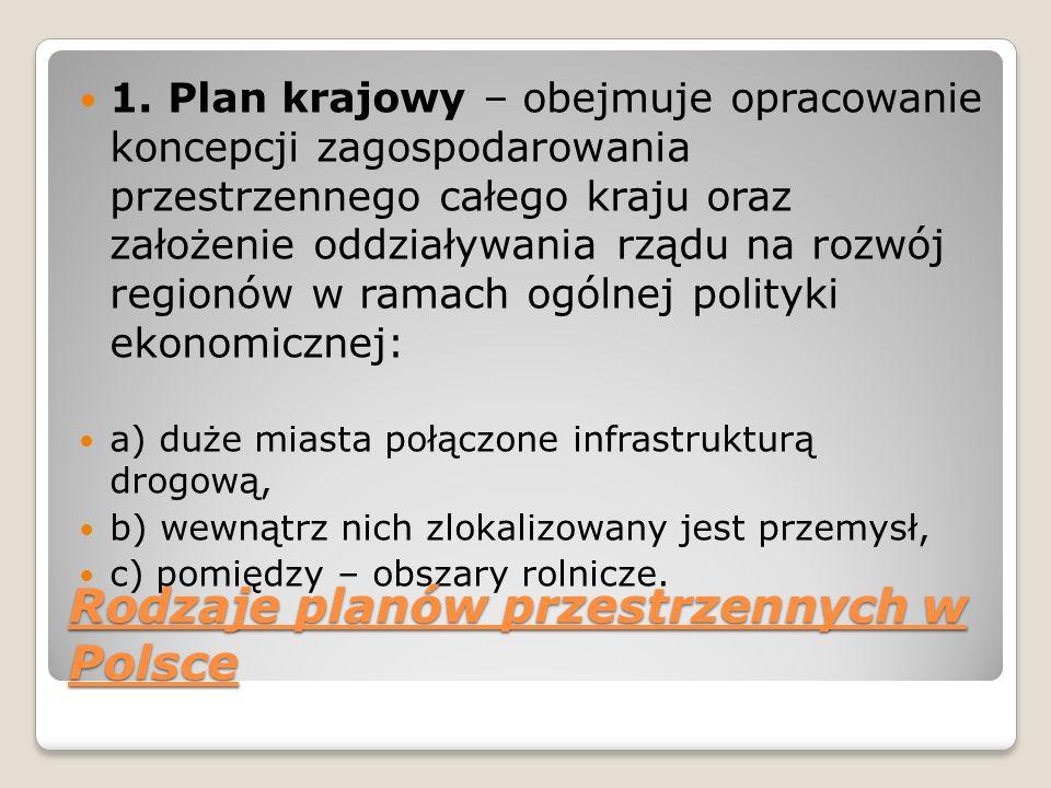1. Plan krajowy – obejmuje opracowanie koncepcji zagospodarowania przestrzennego całego kraju oraz założenie oddziaływania rządu na rozwój regionów w