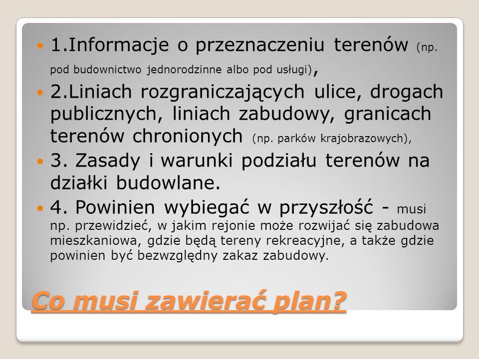 1.Informacje o przeznaczeniu terenów (np. pod budownictwo jednorodzinne albo pod usługi), 2.Liniach rozgraniczających ulice, drogach publicznych, lini
