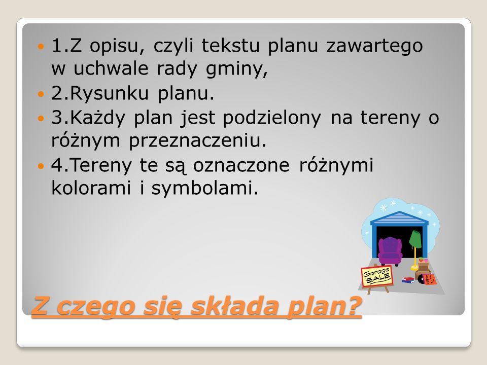 1.Z opisu, czyli tekstu planu zawartego w uchwale rady gminy, 2.Rysunku planu. 3.Każdy plan jest podzielony na tereny o różnym przeznaczeniu. 4.Tereny