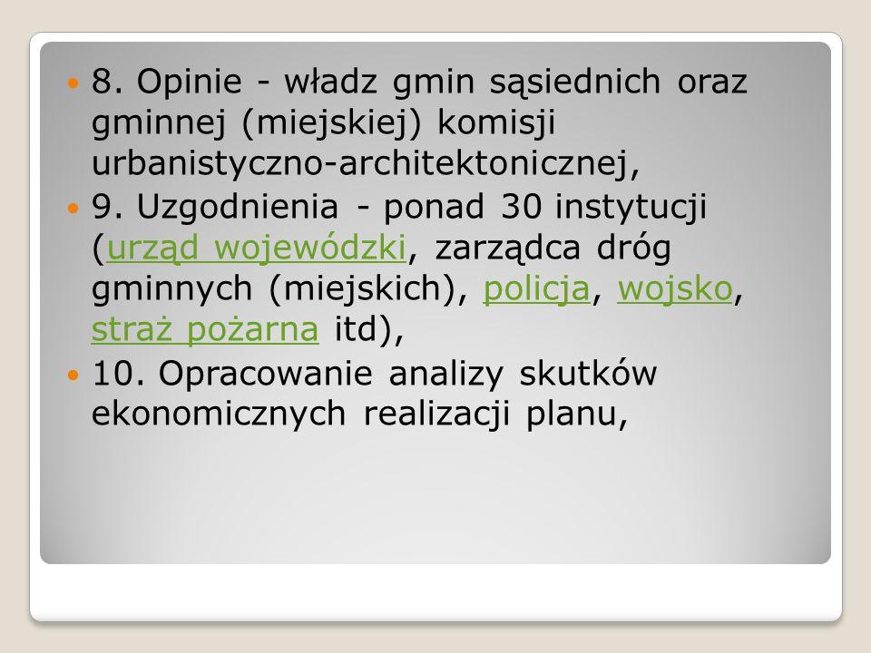 8. Opinie - władz gmin sąsiednich oraz gminnej (miejskiej) komisji urbanistyczno-architektonicznej, 9. Uzgodnienia - ponad 30 instytucji (urząd wojewó