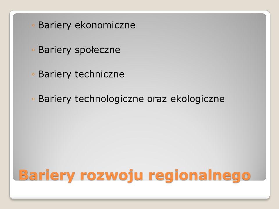 Bariery rozwoju regionalnego Bariery ekonomiczne Bariery społeczne Bariery techniczne Bariery technologiczne oraz ekologiczne