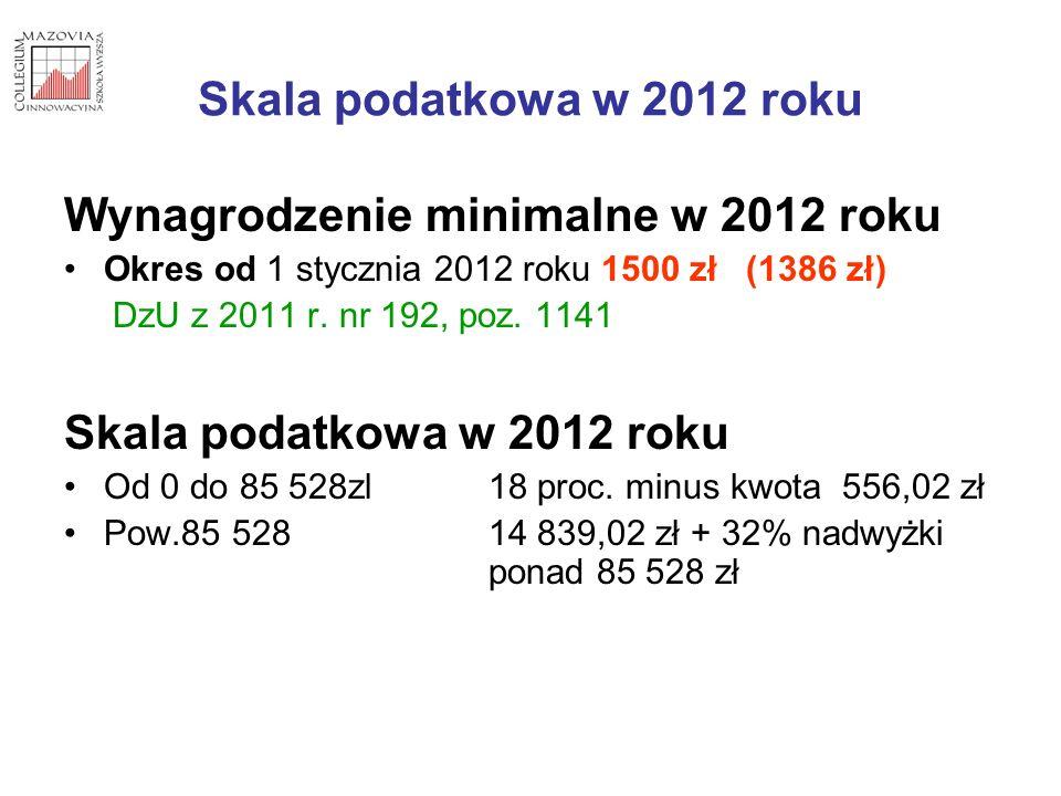Skala podatkowa w 2012 roku Wynagrodzenie minimalne w 2012 roku Okres od 1 stycznia 2012 roku 1500 zł (1386 zł) DzU z 2011 r. nr 192, poz. 1141 Skala