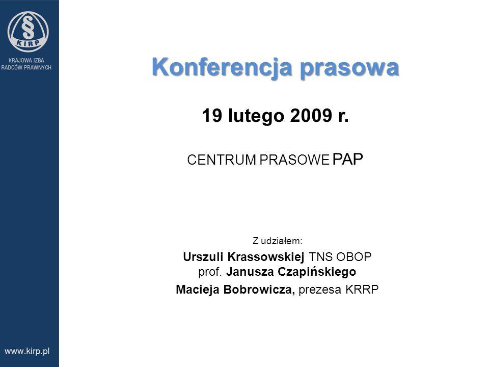 Zawody prawnicze w opinii i w doświadczeniu Polaków Zawody prawnicze w opinii i w doświadczeniu Polaków omówienie badań przeprowadzonych przez TNS OBO