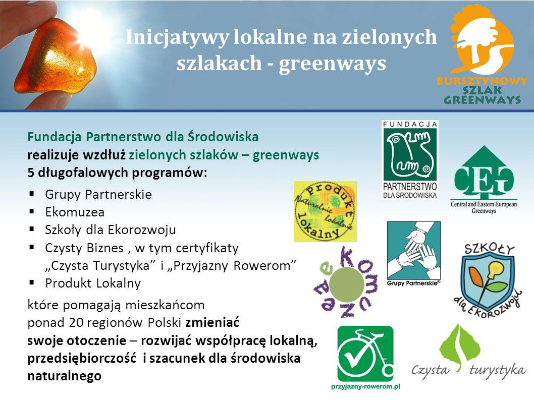 Inicjatywy lokalne na zielonych szlakach - greenways Fundacja Partnerstwo dla Środowiska realizuje wzdłuż zielonych szlaków – greenways 5 długofalowyc