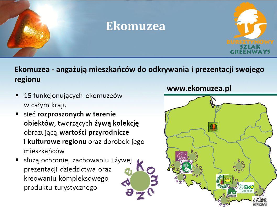 Ekomuzea Ekomuzea - angażują mieszkańców do odkrywania i prezentacji swojego regionu www.ekomuzea.pl 15 funkcjonujących ekomuzeów w całym kraju sieć r