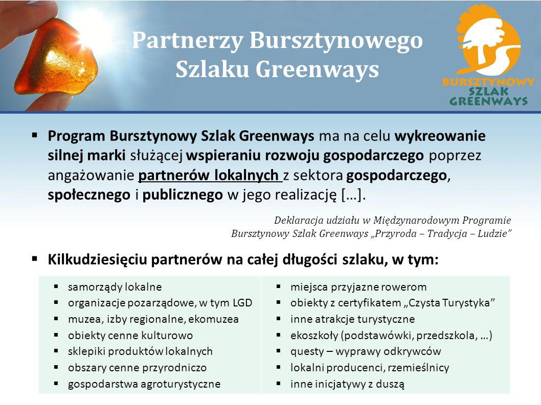 Partnerzy Bursztynowego Szlaku Greenways Program Bursztynowy Szlak Greenways ma na celu wykreowanie silnej marki służącej wspieraniu rozwoju gospodarc