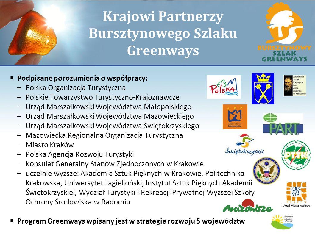 Krajowi Partnerzy Bursztynowego Szlaku Greenways Podpisane porozumienia o współpracy: –Polska Organizacja Turystyczna –Polskie Towarzystwo Turystyczno