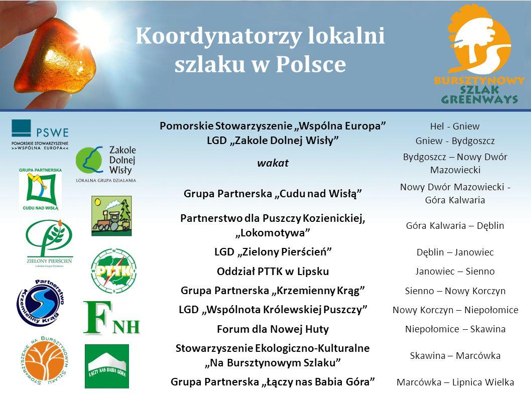 Koordynatorzy lokalni szlaku w Polsce Pomorskie Stowarzyszenie Wspólna Europa Hel - Gniew LGD Zakole Dolnej Wisły Gniew - Bydgoszcz wakat Bydgoszcz –