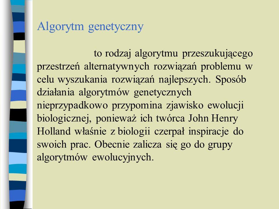 Algorytm genetyczny to rodzaj algorytmu przeszukującego przestrzeń alternatywnych rozwiązań problemu w celu wyszukania rozwiązań najlepszych. Sposób d