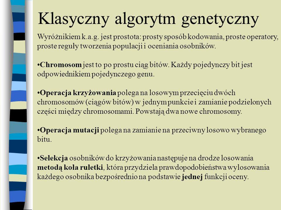 Klasyczny algorytm genetyczny Wyróżnikiem k.a.g. jest prostota: prosty sposób kodowania, proste operatory, proste reguły tworzenia populacji i ocenian