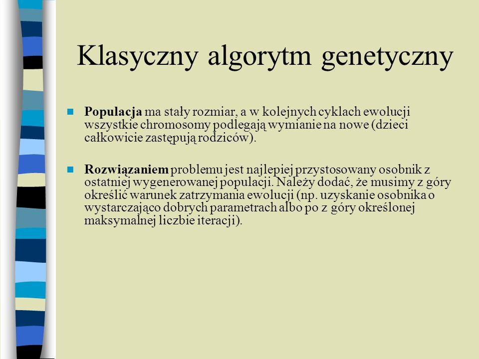Klasyczny algorytm genetyczny Populacja ma stały rozmiar, a w kolejnych cyklach ewolucji wszystkie chromosomy podlegają wymianie na nowe (dzieci całko