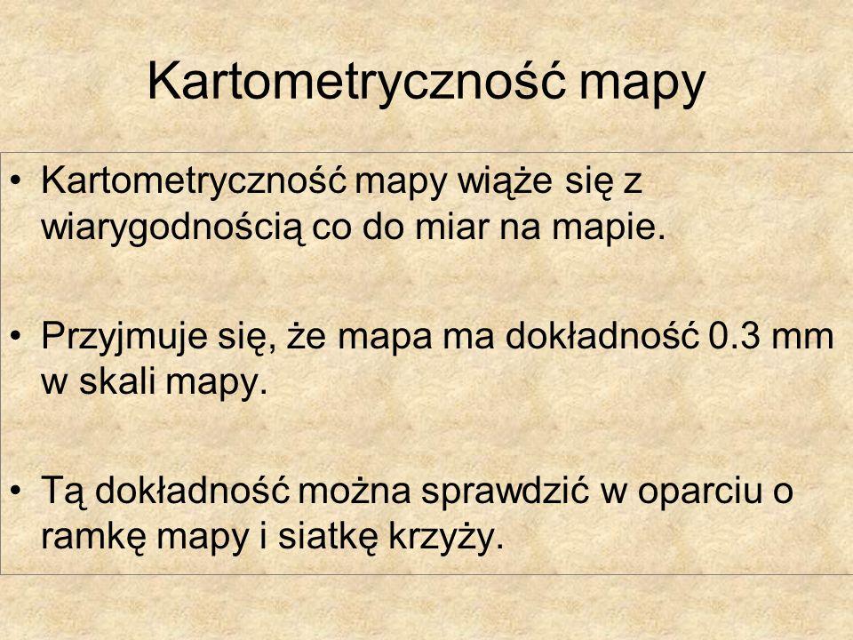 Kartometryczność mapy Kartometryczność mapy wiąże się z wiarygodnością co do miar na mapie. Przyjmuje się, że mapa ma dokładność 0.3 mm w skali mapy.