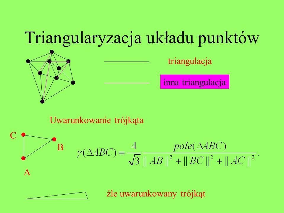 Triangularyzacja układu punktów triangulacja inna triangulacja A C B Uwarunkowanie trójkąta źle uwarunkowany trójkąt