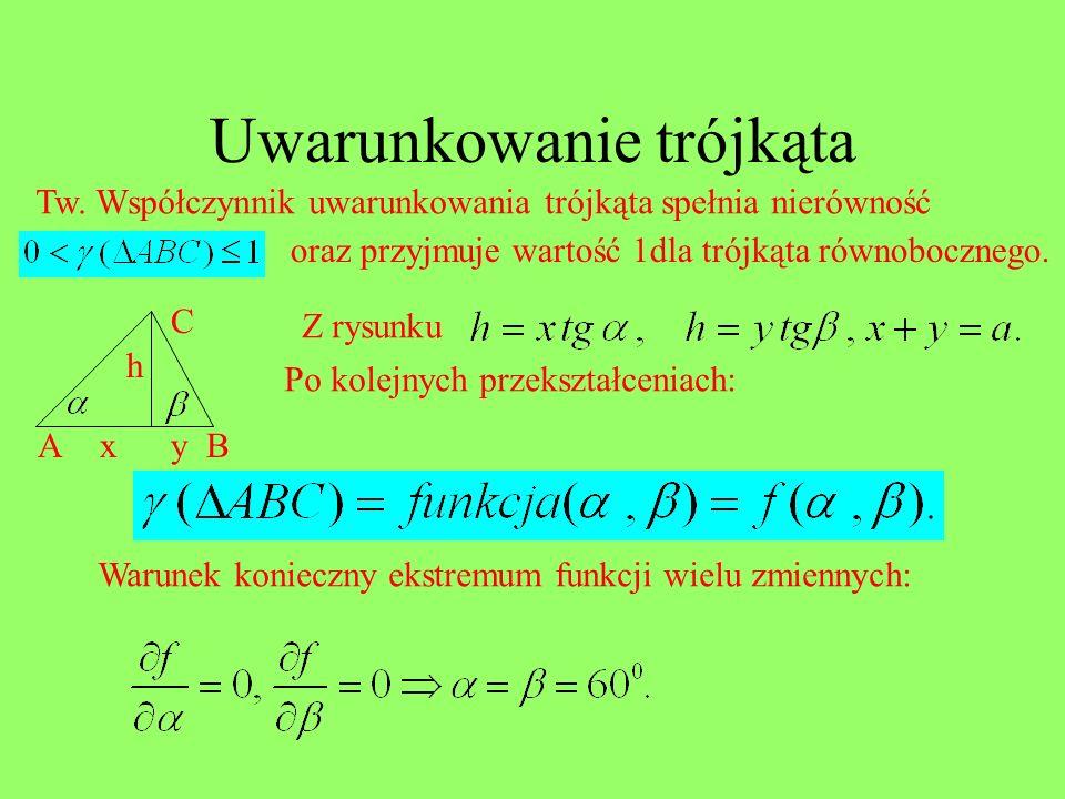 Uwarunkowanie trójkąta Tw. Współczynnik uwarunkowania trójkąta spełnia nierówność oraz przyjmuje wartość 1dla trójkąta równobocznego. AB C xy Z rysunk