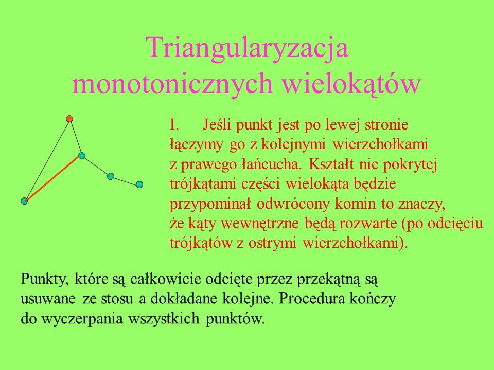 Triangularyzacja monotonicznych wielokątów I.Jeśli punkt jest po lewej stronie łączymy go z kolejnymi wierzchołkami z prawego łańcucha. Kształt nie po