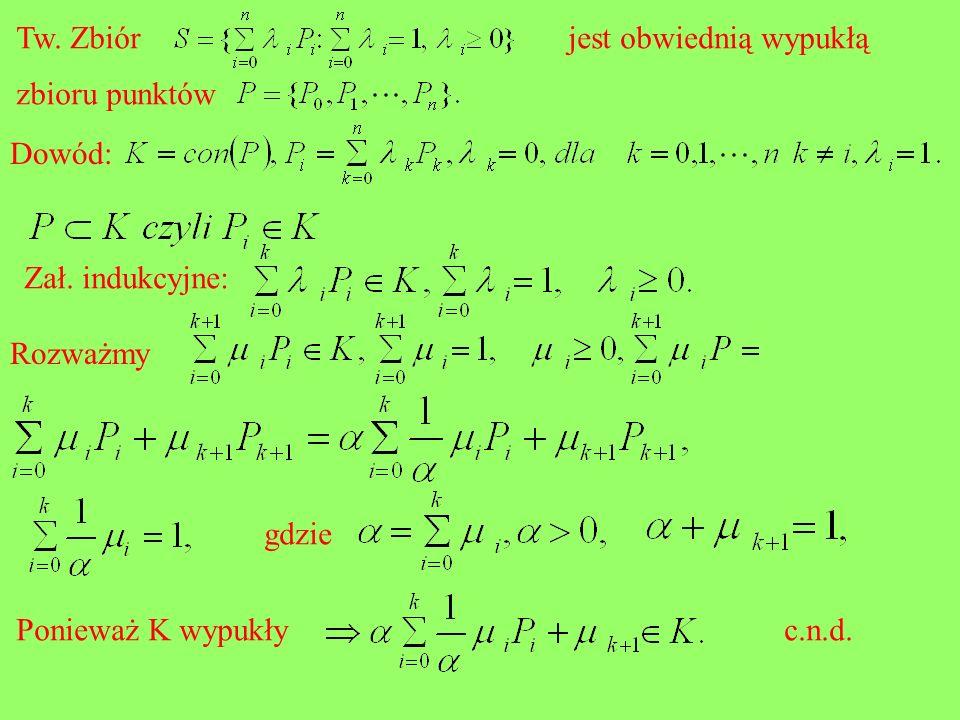 Tw. Zbiórjest obwiednią wypukłą zbioru punktów Dowód: Zał. indukcyjne: Rozważmy gdzie Ponieważ K wypukłyc.n.d.