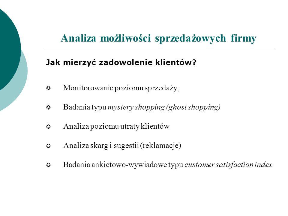 Analiza możliwości sprzedażowych firmy Jak mierzyć zadowolenie klientów? Monitorowanie poziomu sprzedaży; Badania typu mystery shopping (ghost shoppin