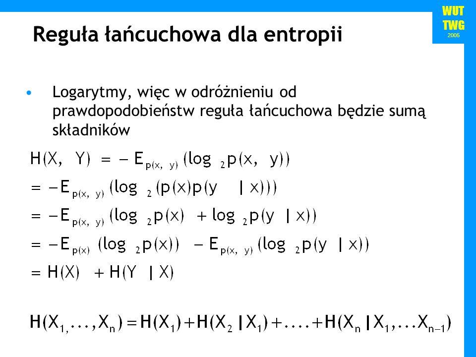 WUT TWG 2005 Przykład Nasz język polinezyjski modelowaliśmy za pomocą zmiennej losowej Załóżmy, że dodatkowe badania pozwoliły odkryć strukturę użycia sylab w tym języku: wszystkie słowa składają się z ciągów sylab złożonych ze spółgłoski (C) i samogłoski (V): ptk a 1/163/81/161/2 i 1/163/1601/4 u 03/161/161/4 1/83/41/8
