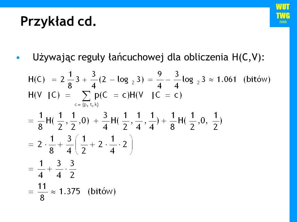 WUT TWG 2005 Przykład cd.Entropia ciągu (znaków, wyrazów itd.) zależy od jego długości.