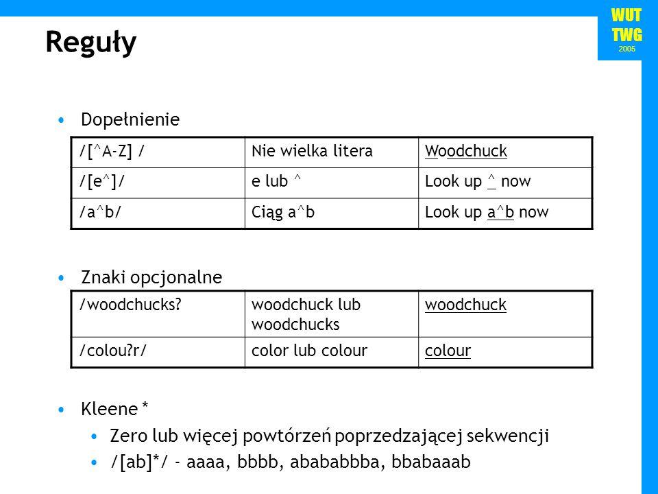 WUT TWG 2005 Reguły Alternatywa i grupowanie Kotwice ^ - początek ciągu $ - koniec ciągu \b – granica słowa \B – środek słowa Kleene + Przynajmniej jedno wystąpienia sekwencji /[0-9]+/ - liczba całkowita /cat|dog/cat lub dogcat /gupp(y|ies)/guppy lub guppiesguppy /(Column_[0-9]+_*)*/Column 1 Column 2 itd.