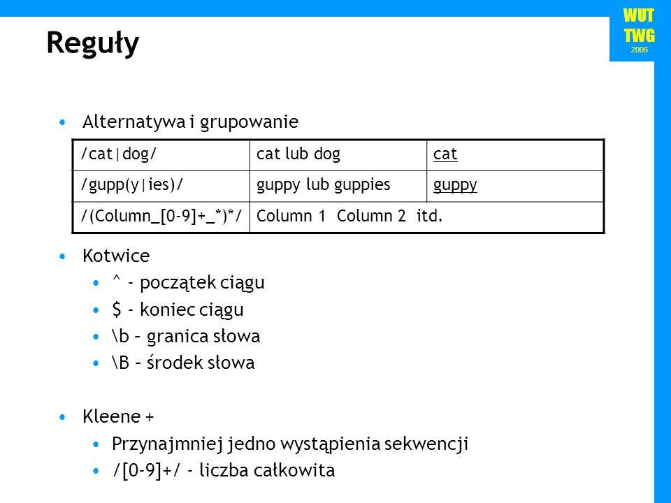 WUT TWG 2005 Hierarchia operatorów 1.Grupowanie () 2.