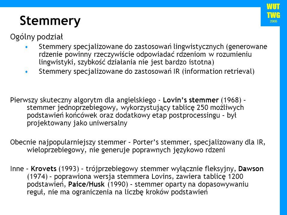 WUT TWG 2005 Stemmer Portera Zaproponowany przez Martina Portera w 1980 r.