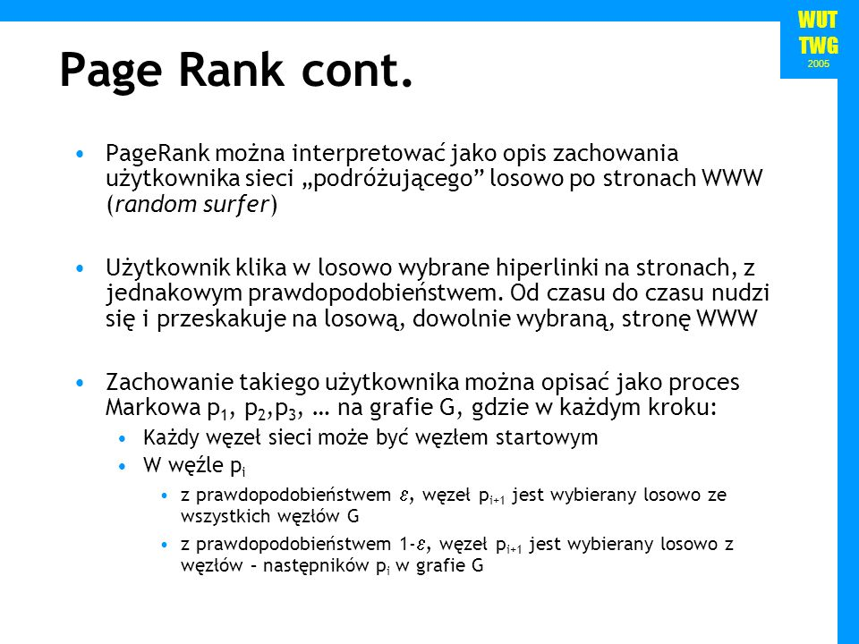 WUT TWG 2005 Page Rank cont.