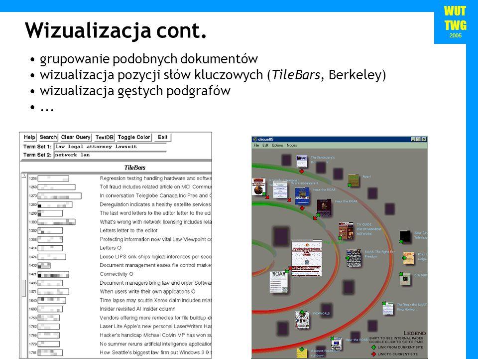 WUT TWG 2005 grupowanie podobnych dokumentów wizualizacja pozycji słów kluczowych (TileBars, Berkeley) wizualizacja gęstych podgrafów...